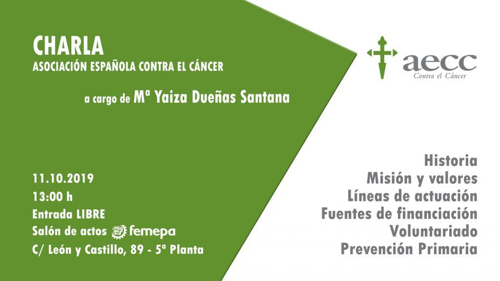 El salón de actos de Femepa acogerá una charla de la AECC el 11 de octubre