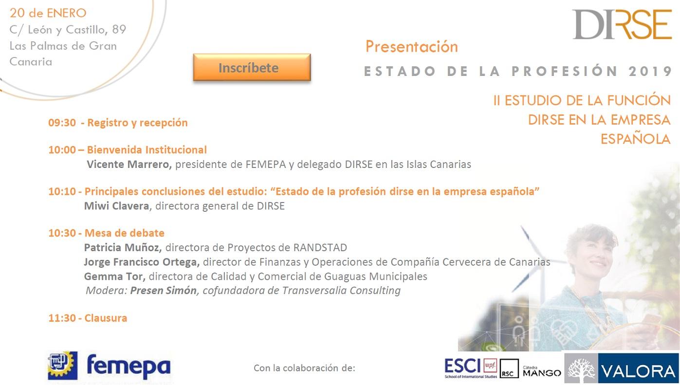 El II estudio de la función DIRSE en la empresa española se presentará en Femepa el 20 de enero